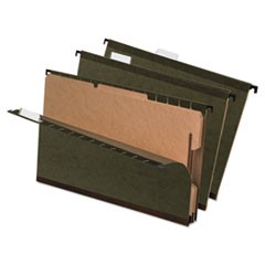 SureHook Reinforced Hanging Divider Folders, 2 Dividers, Legal Size, Green, 10/Box