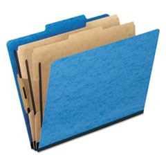 Six-Section Colored Classification Folders, 2 Dividers, Legal Size, Light Blue, 10/Box