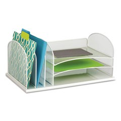 "Onyx Desk Organizer with Three Horizontal and Three Upright Sections, Letter Size Files, 19.5"" x 11.5"" x 8.25"", White"