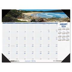 Coastlines Photographic Monthly Desk Pad Calendar, 22 x 17, 2016