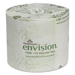 One-Ply Bathroom Tissue, Septic Safe, 1-Ply, White, 1210 Sheets/Roll, 80 Rolls/Carton