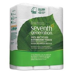 100% Recycled Bathroom Tissue, 2-Ply, White, 300 Sheets/Roll, 24/Pack