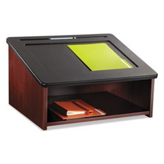 Safco Tabletop Lectern, 24W X 20D X 13.5H, Mahogany/Black