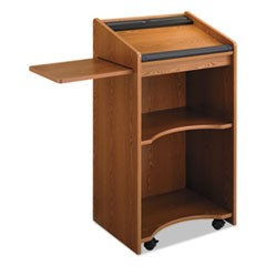 Executive Mobile Lectern, 25-1/4w x 19-3/4d x 46h, Medium Oak