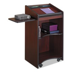 Executive Mobile Lectern, 25.25w x 19.75d x 46h, Mahogany