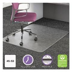UltraMat All Day Use Chair Mat for High Pile Carpet, 45 x 53, Rectangular, Clear