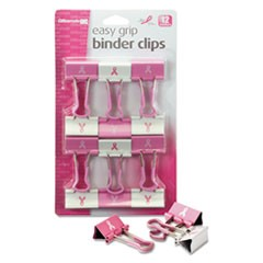 Breast Cancer Awareness Medium Easy Grip Binder Clips, Pink/White, 12/Pack