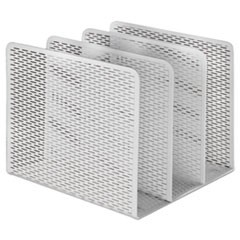 "Urban Collection Punched Metal File Sorter, 3 Sections, Letter Size Files, 8"" x 8"" x 7.25"", White"
