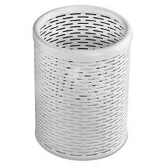 Urban Collection Punched Metal Pencil Cup, 3 1/2 x 4 1/2, White