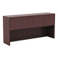 Alera Valencia Series Hutch with Doors, 64.75w x 15d x 35.38h, Mahogany