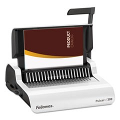 Fellowes Pulsar+ Manual Comb Binding System, 300 Sheets, 18 1/8 X 15 3/8 X 5 1/8, White