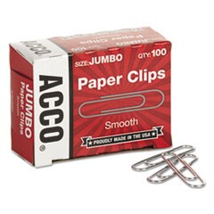 Smooth Standard Paper Clip, Jumbo, Silver, 100/Box, 10 Boxes/Pack