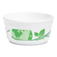 Vio Biodegradable Food Containers, 8 oz Bowl, Foam, White/Green, 500/Carton