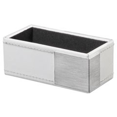 Architect Line Business Card Holder, Holds 50 2 x 3 1/2, White/Silver