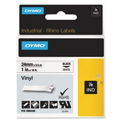 "Rhino Permanent Vinyl Industrial Label Tape, 1"" x 18 ft, White/Black Print"