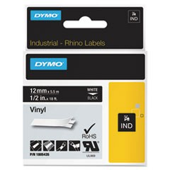 "Rhino Permanent Vinyl Industrial Label Tape, 1/2"" x 18 ft, Black/White Print"