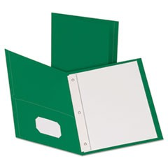 "Twin-Pocket Folders with 3 Fasteners, Letter, 1/2"" Capacity, Green, 25/Box"