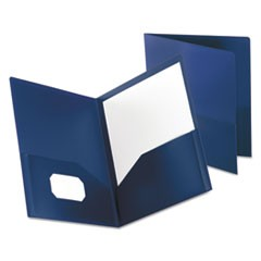 Poly Twin-Pocket Folder, Holds 100 Sheets, Opaque Dark Blue