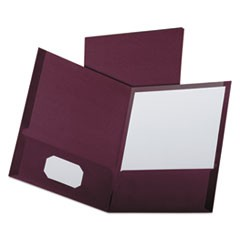 Linen Finish Twin Pocket Folders, Letter, Burgundy,25/Box