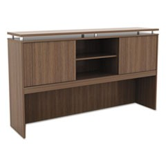 Sedina Series Hutch with Sliding Doors, 66w x 15d x 42 1/2h, Walnut
