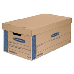 "SmoothMove Prime Moving & Storage Boxes, Small, Half Slotted Container (HSC), 24"" x 12"" x 10"", Brown Kraft/Blue, 8/Carton"