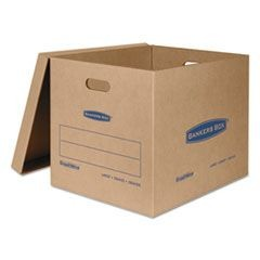 "SmoothMove Classic Moving & Storage Boxes, Large, Half Slotted Container (HSC), 21"" x 17"" x 17"", Brown Kraft/Blue, 5/Carton"