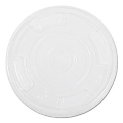 Compostable Cold Cup Lids, Flat, For 10, 12, 16oz Cups, Clear, 1000/Carton