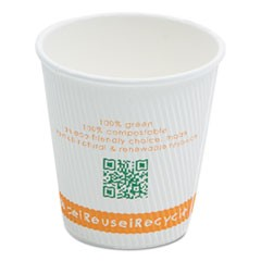 Compostable Insulated Ripple-Grip Hot Cups, 10oz, White, 500/Carton