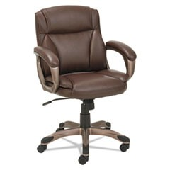 Alera Veon Series Low-Back Leather Task Chair w/Coil Spring Cushion, Brown