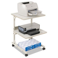 Dual Laser Printer Stand, Three-Shelf, 24w x 24d x 33h, Gray