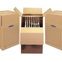"SmoothMove Wardrobe Box, Regular Slotted Container (RSC), 24"" x 24"" x 40"", Brown Kraft/Blue, 3/Carton"