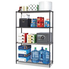 BA Plus Wire Shelving Starter Kit, 4-Shelf, 48 x 18 x 72, Black Anthracite+