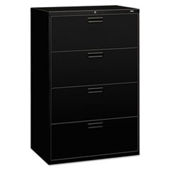 500 Series Four-Drawer Lateral File, 36w x 19-1/4d x 53-1/4h, Black