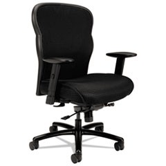 Wave Mesh Big and Tall Chair, Supports up to 450 lbs., Black Seat/Black Back, Black Base