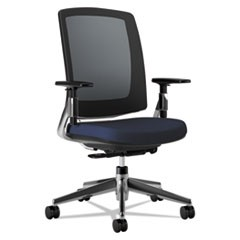Lota Series Mesh Mid-Back Work Chair, Navy Fabric, Polished Aluminum Base