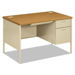 Metro Classic Right Pedestal Desk, 48w x 30d x 29 1/2h, Harvest/Putty