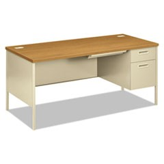 Metro Classic Right Pedestal Desk, 66w x 30d, Harvest/Putty