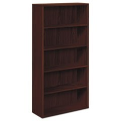 10500 Series Laminate Bookcase, Five-Shelf, 36w x 13-1/8d x 71h, Mahogany
