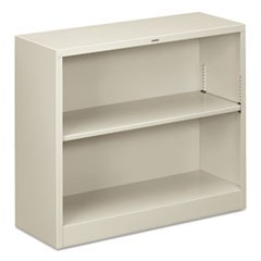 Metal Bookcase, Two-Shelf, 34-1/2w x 12-5/8d x 29h, Light Gray