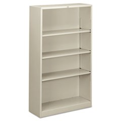 Hon Metal Bookcase, Four-Shelf, 34-1/2W X 12-5/8D X 59H, Light Gray
