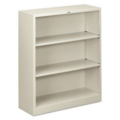Metal Bookcase, Three-Shelf, 34-1/2w x 12-5/8d x 41h, Light Gray