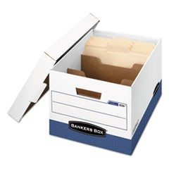 Bankers Box R-Kive Heavy-Duty Storage Boxes With Dividers, Letter/Legal Files, 12.75  X 16.5  X 10.38 , White/Blue, 12/Carton
