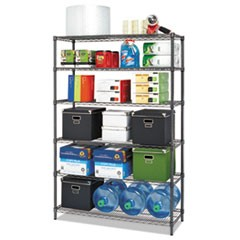 NSF Certified 6-Shelf Wire Shelving Kit, 48 x 18 x 72, Black Anthracite