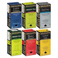 Assorted Tea Packs, Six Flavors, 28/Box, 168/Carton
