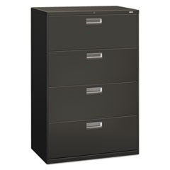 600 Series Four-Drawer Lateral File, 36w x 18d x 52.5h, Charcoal