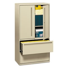 700 Series Lateral File w/Storage Cabinet, 36w x 19-1/4d, Putty