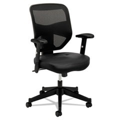 VL531 Mesh High-Back Task Chair with Adjustable Arms, Supports up to 250 lbs., Black Seat/Black Back, Black Base