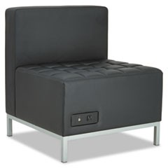 Alera QUB Series Powered Armless L Sectional, 26.38w x 26.38d x 30.5h, Black