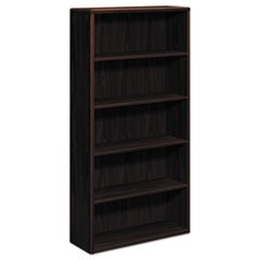 10700 Series Wood Bookcase, Five Shelf, 36w x 13 1/8d x 71h, Mahogany