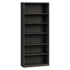 Hon Metal Bookcase, Six-Shelf, 34-1/2W X 12-5/8D X 81-1/8H, Charcoal